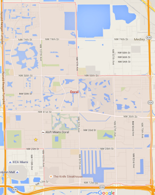 Doral City Map - courtesy Google Maps